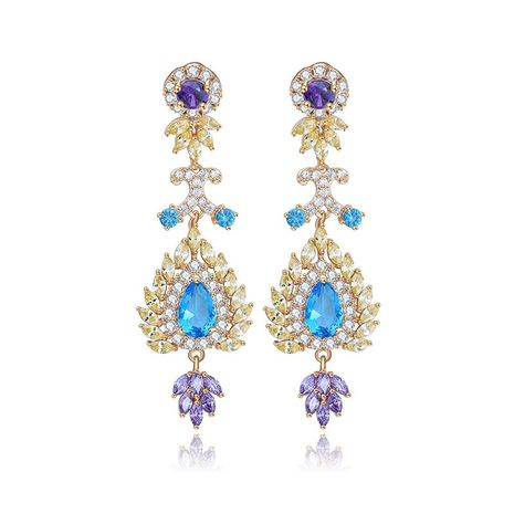 Womens Geometry Electroplated Copper Inlay Zircons Popular long earrings TM190429119889's discount tags
