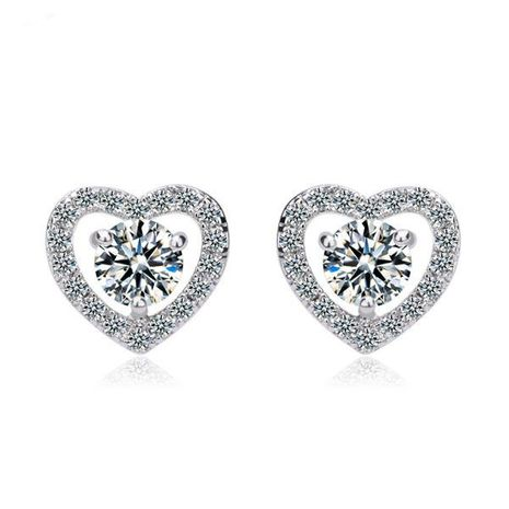 Womens Heart-Shaped Copper Inlay Zircons Stud earring TM190429119892's discount tags