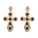 Womens Cross Rhinestone Alloy Earrings JJ190429119671