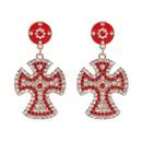 Womens Cross Rhinestone Alloy Earrings JJ190429119677