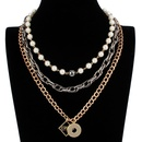 Womens geometric aluminum Multilayer alloy LOVE chain Necklaces CT190429119712