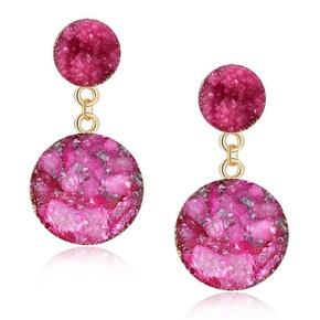 Womens Geometric Plastic Resin Round long section  Earrings GO190430119951