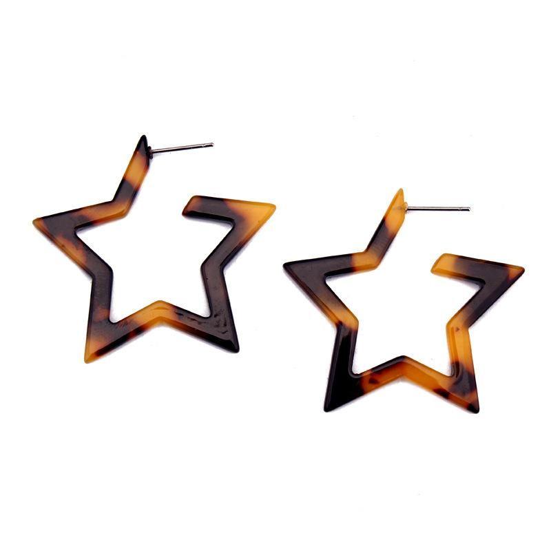 Aretes de ácido acético estrella de cinco puntas de mujer  GO190430119958