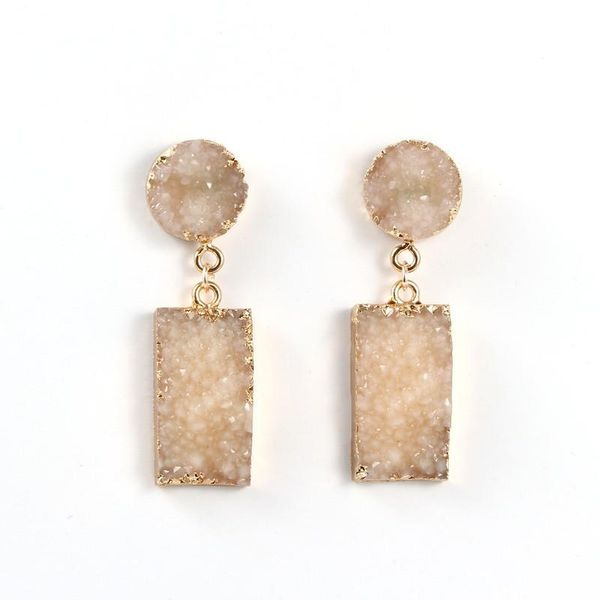 Womens Geometric Personality exaggerated new resin Natural Stone Earrings GO190430119966
