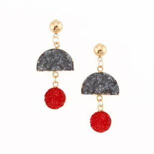 Womens Semicircular Plastic  Resin Long semicircle  Earrings GO190430119996's discount tags