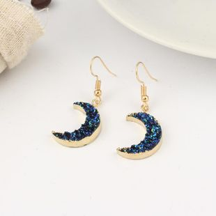 Womens Crescent Plastic Beautifully imitation natural stone crescent  Earrings GO190430120013's discount tags