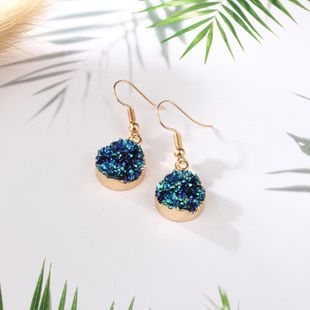 Womens Round PlasticVintage imitation natural stone round color  Resin Earrings GO190430120014's discount tags