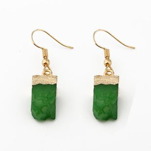 Womens Rectangular Plastic Exquisite personality like natural stone  Resin Earrings GO190430120021's discount tags