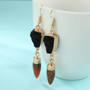 Womens Bullet Personality imitation natural stone retro  Earrings GO190430120027's discount tags