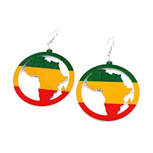 Womens Geometric Creative African Round Multicolored Map  Wood Earrings GO190430120028's discount tags
