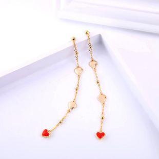 Womens Heart-shaped Oil Dropper 925 alloy needle  Earrings QD190430120029's discount tags
