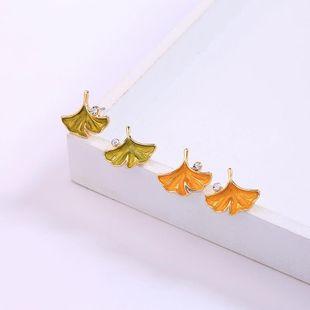 Womens Leaf Drop Oil  Mosaic maple leaf Alloy Earrings QD190430120035's discount tags