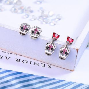 Womens enamel  Heart shaped skull rhinestones Earrings QD190430120053's discount tags