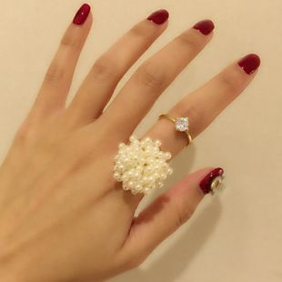 Womens Floral Rhinestone Alloy Rings NT190430120090's discount tags