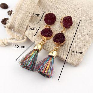 Womens Geometric Plastic  Long tassel Resin Earrings GO190430120112's discount tags