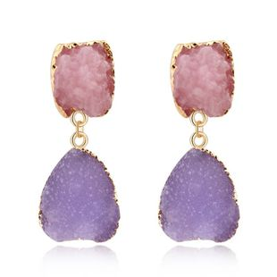 Womens Geometric Plastic  Imitation natural stone Resin Earrings GO190430120115's discount tags