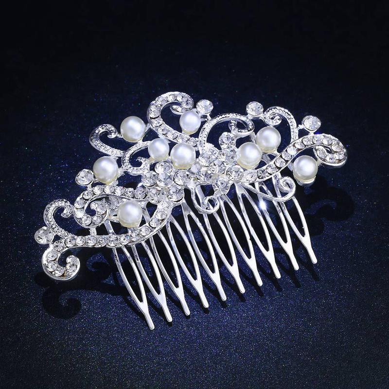 Womens floral rhinestone alloy Comb NHAS120836