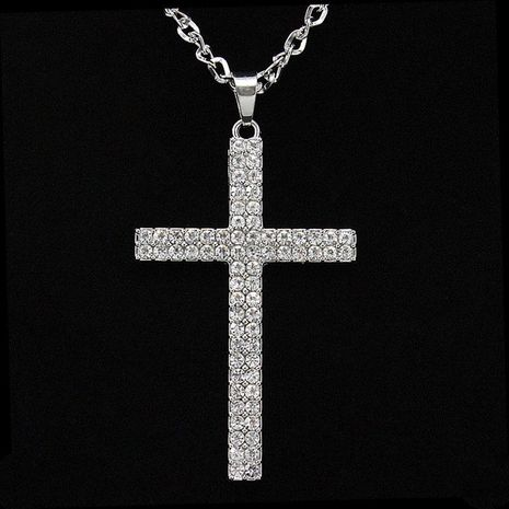 Womens cross-studded alloy ocesrio Necklaces NHAS120885's discount tags