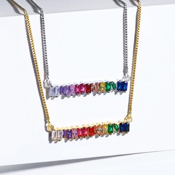 Womens geometric inlaid zircon copper plated 18K alloy minimalist Necklaces NHAS120906