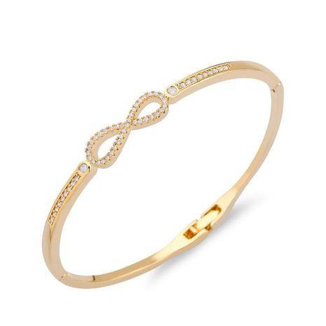 Womens Alphabet/Digital/Text inlaid Zircon Copper Bracelets & Bangles NHAS120919's discount tags