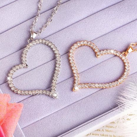 Womens Heart-Shaped Rhinestone Necklaces NHAS120932's discount tags