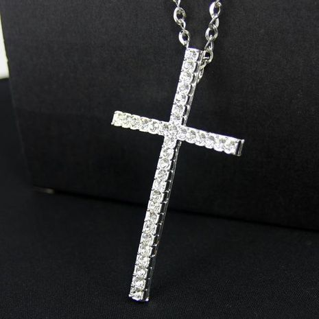 Couple-style cross-studded alloy Necklaces NHAS120934's discount tags