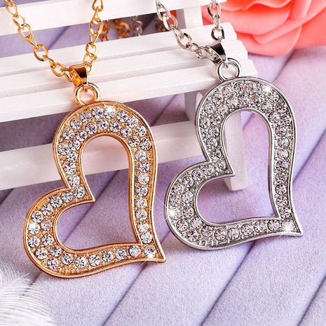 Womens heart-shaped rhinestone alloy Hollow love necklace  NHAS120936's discount tags