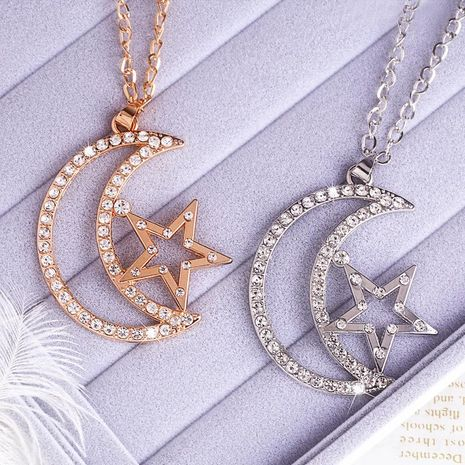 Womens Star Rhinestone Alloy Necklaces NHAS120958's discount tags