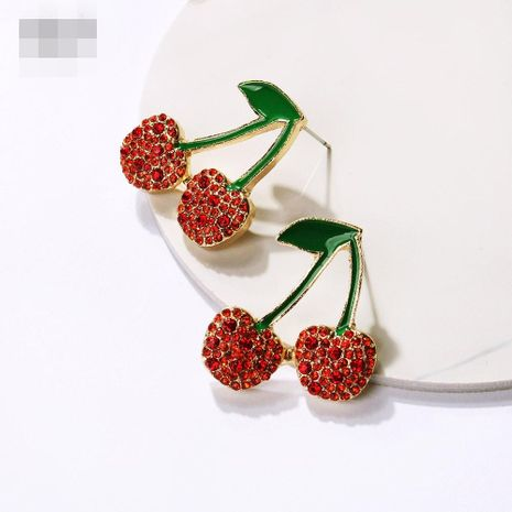 Womens Cherry Small fresh rhinestones  Electroplating Alloy Earrings NHMD120984's discount tags