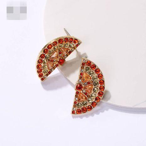 Womens Fruit Plating Personality full of rhinestones, half cut, fan-shaped fashion  Alloy Earrings NHMD121002's discount tags