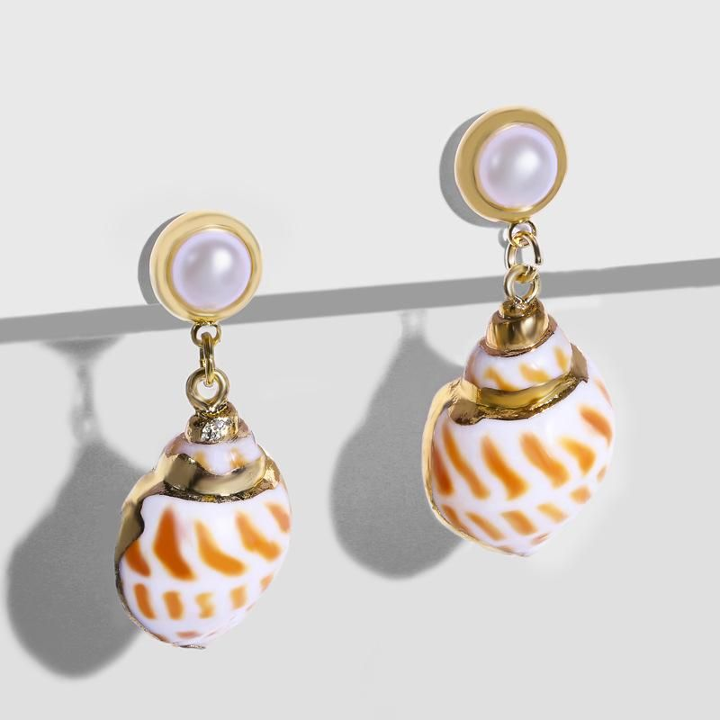 Womens Conch Sea Shell   Beads  Earrings NHAS121022