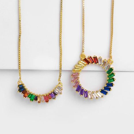Womens geometric inlaid zircon copper plated   minimalist Necklaces NHAS121028's discount tags