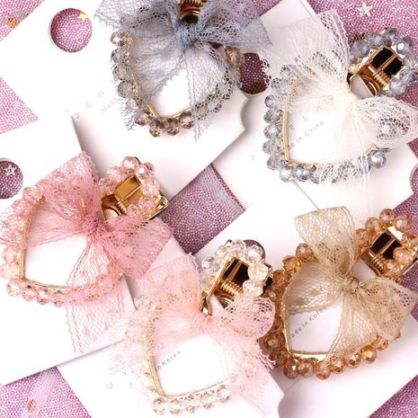 Womens Rhinestone Imitated crystal mesh bow love shape  Hair Accessories NHOF121044's discount tags