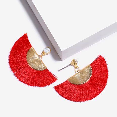 Womens Fan-shaped Rhinestone Alloy tassel Soaring Earrings NHAS121051's discount tags