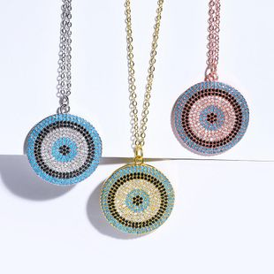 Womens Devils Eye with Zircon Copper Plated  Simple Necklaces NHAS121065's discount tags