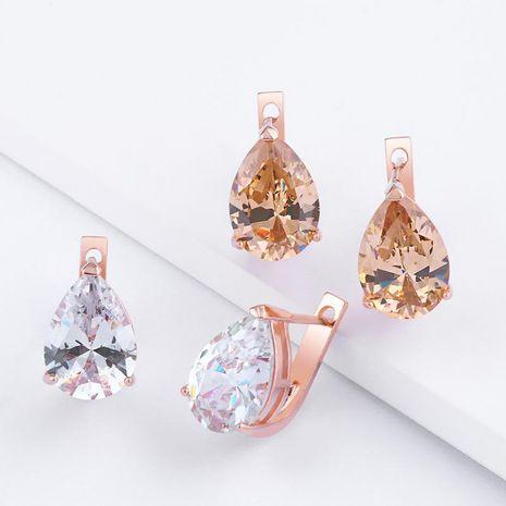 Womens teardrop-shaped brass electric white steel Earrings NHAS121069's discount tags