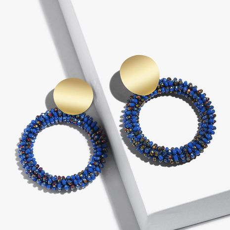 Womens Geometric Hand-knitted Alloy Soaring Earrings NHAS121101's discount tags