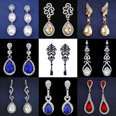 Womens teardrop-shaped imitated crystal alloy soaring Earrings NHAS121117's discount tags