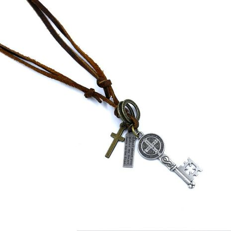 Unisex letters numbers text Jesus Cross Master Key alloy Necklaces NHHM121297's discount tags
