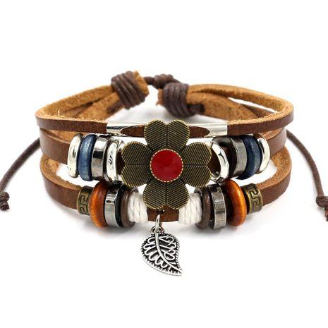 Unisex floral plating Vintage flower cowhide beads alloy Bracelet NHHM121308's discount tags