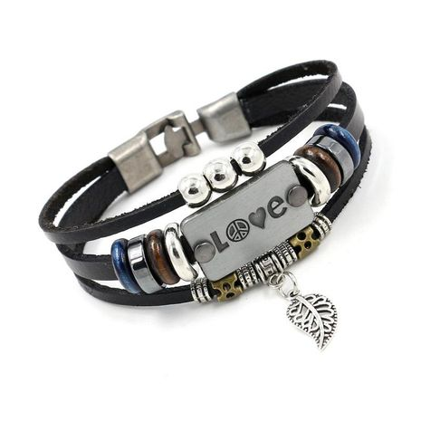Couple Heart Shaped Multi-layer national style Leather Bracelet NHHM121309's discount tags