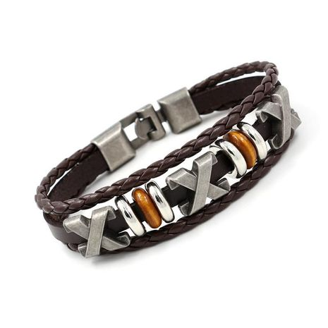 Unisex Geometric Beaded Beaded punk couple Leather Bracelet NHHM121320's discount tags