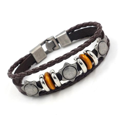 Unisex geometry Vintage multi-layer weave  plating alloy Bracelet NHHM121333's discount tags