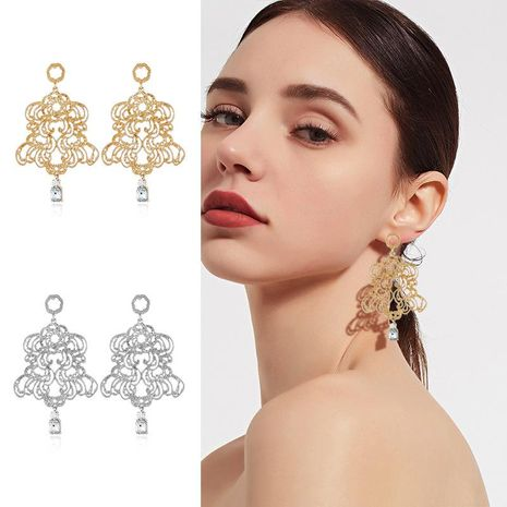 Womens Geometry Electroplating Fashion palace plaid hollow  Alloy Earrings NHKQ121337's discount tags