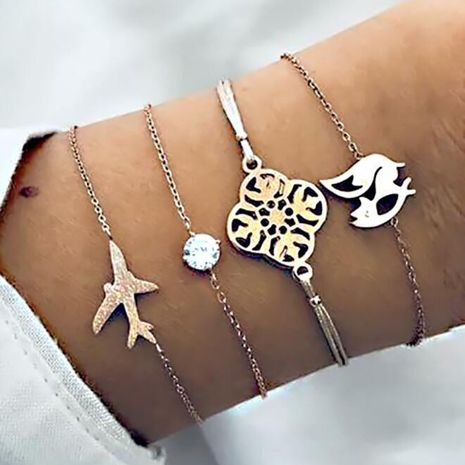 Womens  Fashion Aircraft Fox Plating Alloy Bracelet NHBQ121351's discount tags