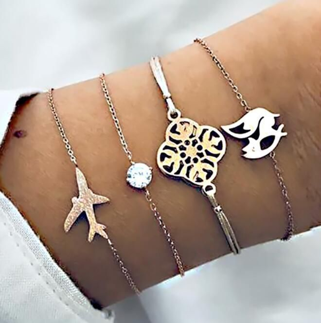 Womens  Fashion Aircraft Fox Plating Alloy Bracelet NHBQ121351
