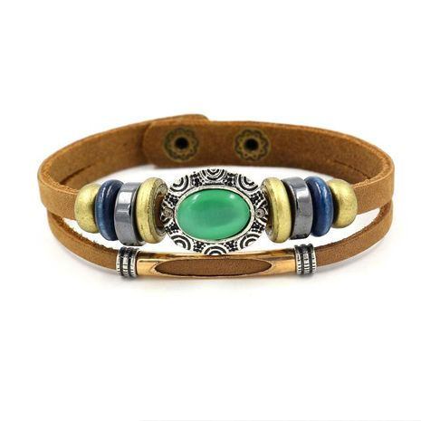 Womens Geometric Fashion green opal leather Bracelet NHHM121355's discount tags