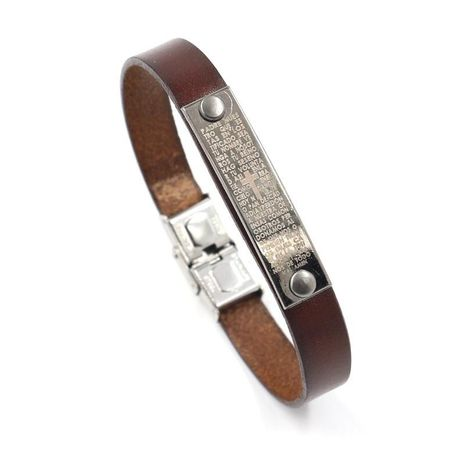 Unisex letters numbers text leather Bracelet NHHM121369's discount tags