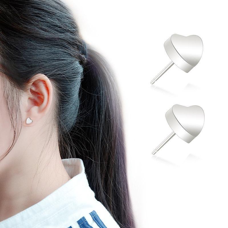 Womens Heart Shaped Titanium Steel Earrings NHOK121385