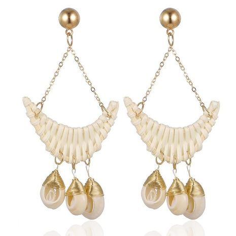 Womens Geometric Handwoven Ocean style fashion conch  Metal Earrings NHSD121390's discount tags